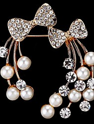 cheap -Women's Brooches Bowknot Stylish Imitation Pearl Brooch Jewelry Golden For Daily