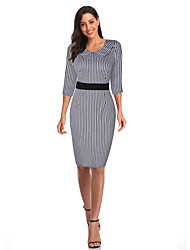 cheap -Elegant Dress Women's Spandex Costume Black Vintage Cosplay 3/4-Length Sleeve Knee Length