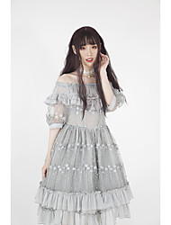 cheap -Classical Vintage Princess Lolita Dress Party Costume Costume Party Dress Female Japanese Cosplay Costumes Gray Stitching Lace Lace Stars Puff / Balloon Sleeve Short Sleeve Midi