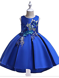 cheap -Ball Gown Floor Length Flower Girl Dress - Polyester / Cotton Blend Sleeveless Jewel Neck with Appliques / Paillette by LAN TING Express