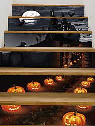 cheap -Floor Stickers - Halloween Night Pumpkin Lantern Castle Wall Stickers Landscape / Botanical / Landscape Study Room / Office / Dining Room / Kitchen