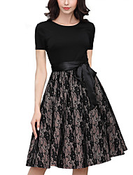 cheap -Women's Black Dress Elegant Sophisticated Swing Geometric Lace Bow Layered S M