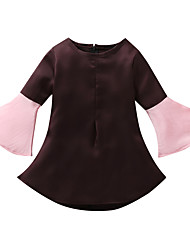 cheap -Kids Toddler Girls' Vintage Basic Solid Colored Patchwork Long Sleeve Above Knee Dress Brown / Cotton