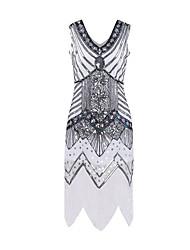 cheap -Diva Disco 1980s Dress Women's Sequins Costume Golden / White / Purple Vintage Cosplay Prom Sleeveless Knee Length Sheath / Column