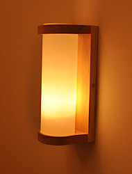 cheap -Cylinder Glass Wall Sconce  Modern Contemporary / Nordic Style Flush Mount wall Lights Indoor / Bedroom Wood / Bamboo Wall Light Corridor