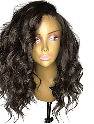 cheap -Synthetic Lace Front Wig Wavy Side Part Lace Front Wig Short Natural Black #1B Synthetic Hair 12-16 inch Women's Adjustable Heat Resistant Party Black