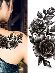cheap -3 pcs Black big flower Body Art Waterproof Temporary Sexy thigh tattoos rose For Woman Flash Tattoo Stickers