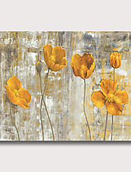 cheap -Oil Painting Hand Painted Horizontal Abstract Floral / Botanical Modern Rolled Canvas (No Frame)