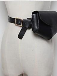 Недорогие -Жен. Молнии PU Поясная сумка Сплошной цвет Черный / Розовый / Бежевый