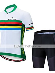 cheap -Men's Short Sleeve Cycling Jersey with Shorts Black Rainbow Bike Clothing Suit Breathable Moisture Wicking Quick Dry Anatomic Design Sports Lycra Rainbow Mountain Bike MTB Road Bike Cycling Clothing