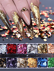 cheap -12 Grid Nail Sequins Paillette Aluminum Irregular Flakes Gold Silver Pigment Nail Art Decoration Mirror Glitter Foil Paper