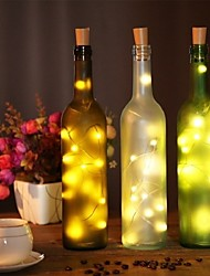 cheap -2m Wine Bottle Cork String Lights 20 LEDs SMD 0603 Warm White / White / Multi Color Waterproof / Party/Wedding/Christmas/Halloween  Batteries Powered 1pc
