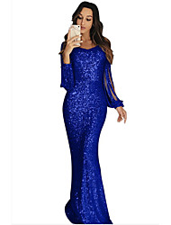 cheap -Sheath / Column Sparkle Blue Party Wear Formal Evening Dress Jewel Neck Long Sleeve Sweep / Brush Train Sequined with Sequin 2020