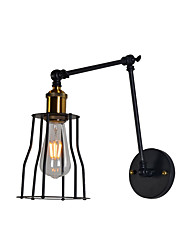 cheap -Industrial Wall Lamp Swing Arm Sconce Black Wire Cage Shade Bedroom Reading Light Corridor Night Light Wall Mount