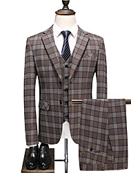 cheap -Tuxedos Standard Fit Notch Single Breasted Two-buttons Polyester Plaid / Check