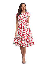 cheap -Women's Swing Dress Midi Dress - Short Sleeves Print Summer Vintage 2020 Wine Red Dusty Blue S M L XL XXL