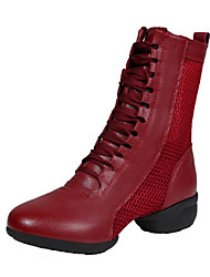 cheap -Women's Dance Shoes Faux Leather Dance Boots Sneaker Thick Heel Customizable Black / White / Red / Performance / Practice