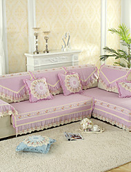 cheap -Slipcovers Sofa Cushion Contemporary Embossed Polyester/ Lace Embroidery/ Solid Color Khaki Blue Pink Purple Couch Cover