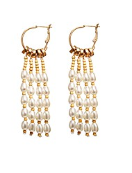 cheap -Women's Drop Earrings Tassel Beads Drop Tropical Romantic Imitation Pearl Earrings Jewelry Gold For Gift Festival 1 Pair