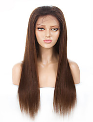 cheap -Remy Human Hair Lace Front Wig Middle Part style Brazilian Hair Straight Brown Wig 130% Density Women's Medium Length Human Hair Lace Wig beikashang