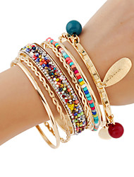 cheap -7pcs Women's Layered Rainbow Vertical / Gold bar Sweet Fashion Glass Bracelet Jewelry AB White Color For Gift Daily Festival