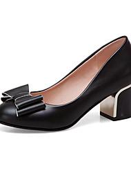 cheap -Women's Heels Chunky Heel PU(Polyurethane) Fall / Spring & Summer Black / White / Pink