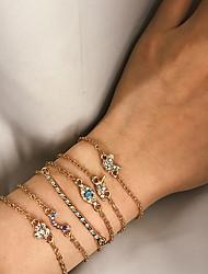cheap -6pcs Women's Bracelet Retro Leaf Eyes Butterfly Sweet Stone Bracelet Jewelry Gold For Gift Daily School Holiday Work