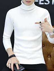 cheap -Men's Striped Solid Colored Pullover Long Sleeve Slim Sweater Cardigans Turtleneck Fall Winter White Black Fuchsia