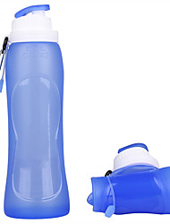 cheap -Sports Water Bottle Collapsible Water Bottle 500 ml PP Silica Gel Portable Foldable Creative for Camping / Hiking Hiking Camping / Hiking / Caving 500 pcs Transparent Fuchsia Blue