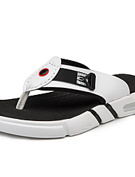 cheap -Men's Comfort Shoes PU Summer Casual Slippers & Flip-Flops Non-slipping Color Block Black / White