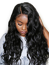 cheap -Remy Human Hair Full Lace Lace Front Wig Middle Part style Brazilian Hair Body Wave Black Wig 130% 150% 180% Density Party Classic Women Extention Natural Women's Medium Length Human Hair Lace Wig