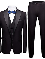cheap -Tuxedos Standard Fit Peak Single Breasted One-button Polyester Solid Colored