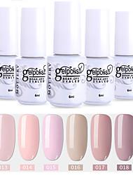 abordables -6 pcs couleur 13-18 xyp soak-off uv / led gel vernis à ongles solide couleur ensembles de vernis à ongles
