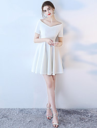 cheap -A-Line Elegant Minimalist Holiday Cocktail Party Dress Off Shoulder Short Sleeve Short / Mini Polyester with 2020