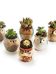 cheap -6pcs Ceramic Owl Plant Pot Flowing Glaze Base Creative Flower Container as Decorations