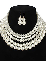 cheap -Women's Pearl Bridal Jewelry Sets Layered Love Artistic Luxury Elegant Imitation Pearl Earrings Jewelry Black / Red / Champagne For Wedding Party 1 set