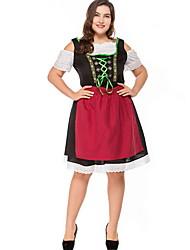 cheap -Bavarian Costume Women's International Halloween Performance Cosplay Costumes Theme Party Costumes Women's Dance Costumes Poly&Cotton Blend Lace-up