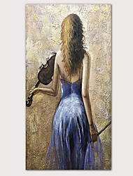 cheap -Oil Painting Hand Painted - Abstract Abstract Portrait Modern Rolled Canvas