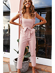 cheap -Women's Basic White Blushing Pink Beige Harem Slim Jumpsuit Onesie, Solid Colored S M L