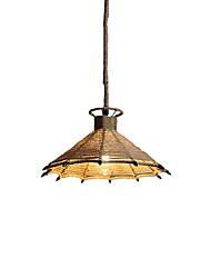 Недорогие -одиночный свет pendnat регулируемый пеньковой веревки тканые фонарь подвесной светильник окружающий свет пеньковой веревки новый дизайн