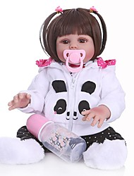 cheap -NPKCOLLECTION 20 inch Reborn Doll Baby Baby Girl Safety Gift Artificial Implantation Brown Eyes Full Body Silicone with Clothes and Accessories for Girls' Birthday and Festival Gifts
