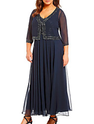 cheap -A-Line Mother of the Bride Dress Wrap Included V Neck Ankle Length Chiffon 3/4 Length Sleeve with Beading 2021