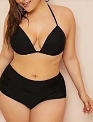 abordables -Femme Basique Bohème Noir Triangle Slip Brésilien Taille haute Bikinis Maillots de Bain - Couleur Pleine Dos Nu Lacet L XL XXL Noir
