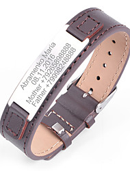 cheap -Personalized Leather / Stainless Steel / Iron Bracelet / Bangle Him / Groomsman / Coworkers Gift / Daily Wear -