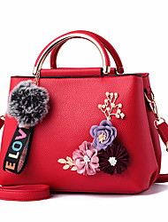 cheap -Women's Zipper / Flower PU Leather Top Handle Bag Leather Bags Solid Color Black / Blue / Red / Fall & Winter
