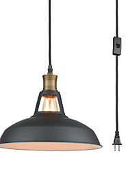 cheap -1-Light Pendant Lamp Black Creative 1 Light Pendant Light Industrial Hanging Lights Plug in Adjustable Suspension Lights Pendant Lighting Cone Shade Metal Pendant Light Fixtures Ceiling Light