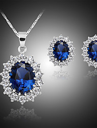 cheap -Women's Stud Earrings Pendant Necklace Classic Stylish Classic Silver Plated Earrings Jewelry Blue For Daily Work 1 set