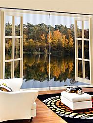 Недорогие -3d цифровая печать природа вдохновила конфиденциальность две панели полиэфирные шторы для кабинета / офиса / гостиной водонепроницаемые пыленепроницаемые декоративные высококачественные шторы