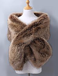 cheap -Sleeveless Shawls Faux Fur / Acrylic Wedding / Party / Evening Women's Wrap With Jacquard