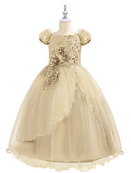 cheap -Princess Maxi Birthday / Pageant Flower Girl Dresses - Chiffon / Tulle Short Sleeve Boat Neck with Beading / Appliques / Paillette